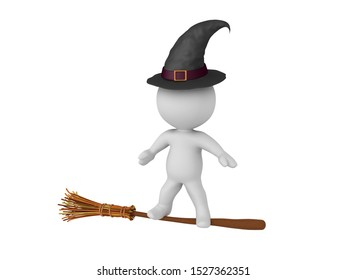 3D Witch riding magical broom stick. 3D Rendering isolated on white.