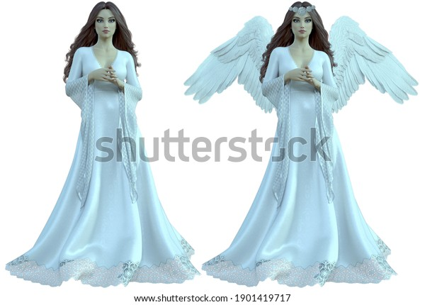 3D woman with beautiful wings looking great.