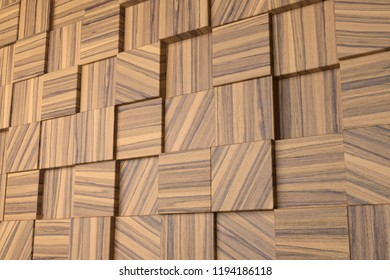 3d wood panel with squares with zebrano texture.