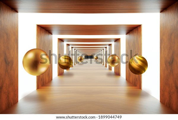 3d wooden mural wallpaper .illustration background tunnel for home walls