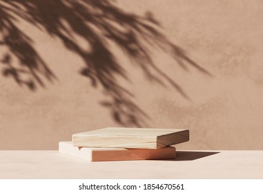 3D  wooden podium display with leaf shadow. Copy space beige background. Cosmetics or beauty product promotion mockup.  Natural stone step pedestal. Trendy minimalist banner, 3D render illustration.