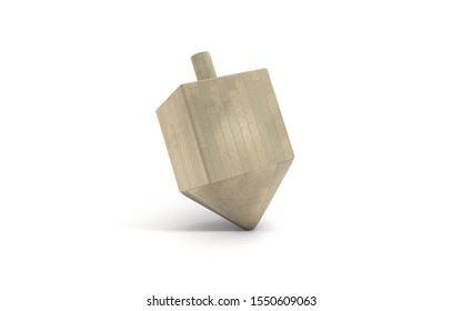 3d wooden sevivon dreidels spinning top for hanukkah jewish holiday isolated on white