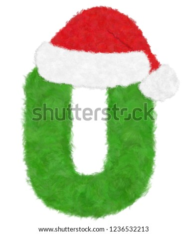 "f09af4963583c 3D ""Green wool fur feather letter"" creative decorative with Red Christmas  hat"
