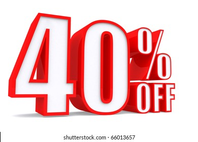 3d word 40 percent off on white isolated background