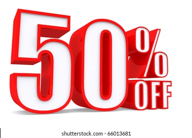 3d word 50 percent off on white isolated background
