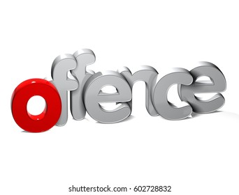 3D Word Offence over white background.