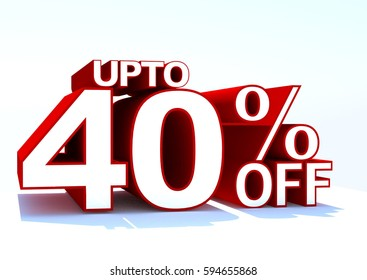 3d word upto 40 percent off on whit background