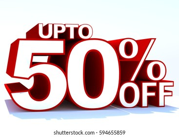 3d word upto 50 percent off on whit background