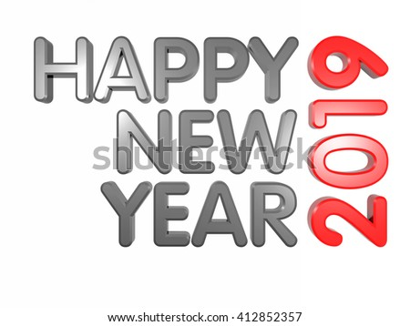 3 D Words Happy New Year 2019 Stock Illustration 412852357 ...