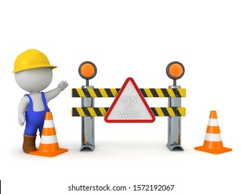3D Worker and road block with men at work sign. 3D Rendering isolated on white.