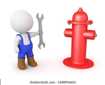 3D Worker with wrench standing next to fire hydrant. 3D Rendering isolated on white.