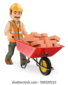 3d working people. Construction worker with a wheelbarrow full of bricks. Isolated white background.
