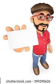 3d working people. Film director showing a blank card. Isolated white background.