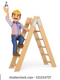 3d working people illustration. Electrician on a ladder changing a light bulb. Isolated white background.