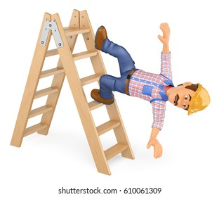 3d working people illustration. Electrician falling off a ladder. Work accident. Isolated white background.