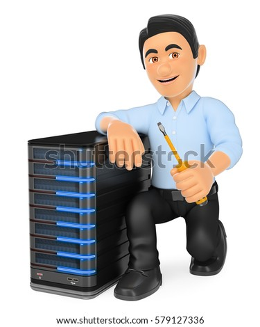 3d Working People Illustration Information Technology Technician With A Server Isolated White Background