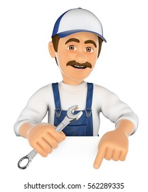3d working people illustration. Mechanic pointing down. Blank space. Isolated white background.