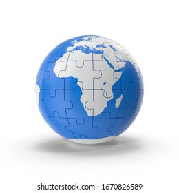 3D world Globe puzzle in blue