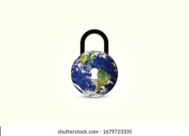 3d World lockdown symbol. Coronavirus pandemic puts countries on lockdown with isolated background.