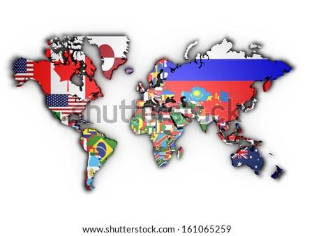 3 d world map world flags raised stock illustration 161065259 3d world map with world flags raised gumiabroncs Choice Image