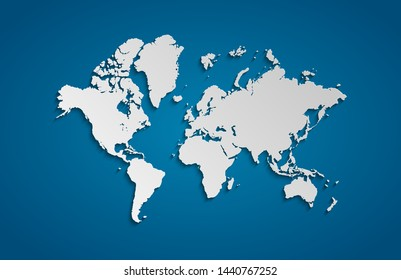3D World map isolated on blue gradient background.