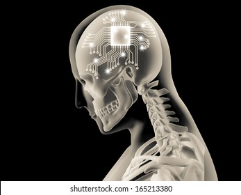 3D X-ray of human brain with computer chip and circuit