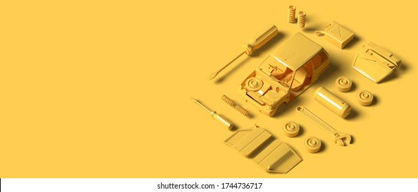 3D Yellow color of Plastic Model car with tools part on yellow background