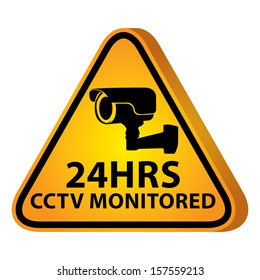 3D Yellow Glossy Style Triangle Caution Plate For Safety Present By 24HRS CCTV Monitored With CCTV or Surveillance Camera Sign Isolated on White Background