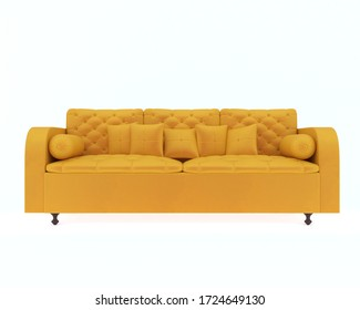 3D illüstrasyon yellow leather armchair with wooden legs on white background