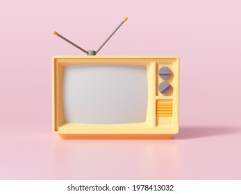 3D Yellow Retro Old Television on pink background, Vintage analog TV with copy space. 3d render illustration.