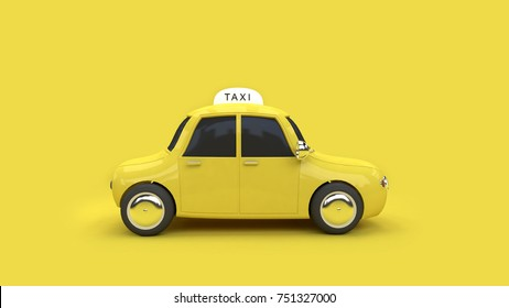3d yellow taxi transportation travel city communication concept yellow background 3d rendering