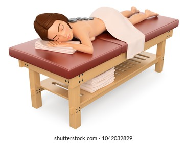 3d young people illustration. Woman relaxed and lying on a massage table. Isolated white background.