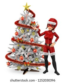 3d young people illustration. Woman superhero with a white christmas tree. Isolated white background.
