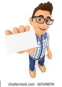 3d young people. Teenager showing a blank card. Isolated white background.
