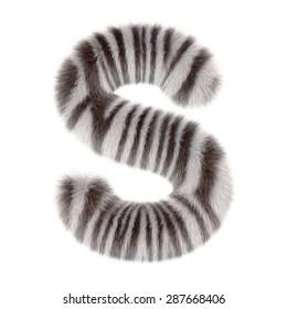 "3d ""Zebra"" creative decorative fur letter S"