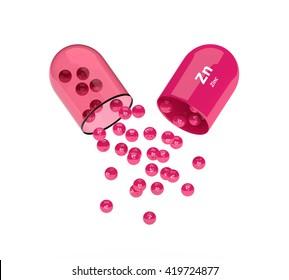 3d zinc capsule with granules isolated over white background