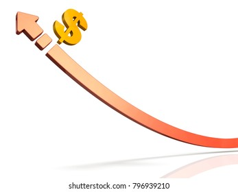 3DCG expressing expectation for booming economy. A large upward arrow. 3D illustration