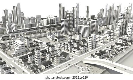 3D-CG image of bird's-eye viewing city