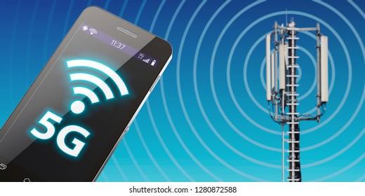 3D-illustration 5G mobilfunknetz