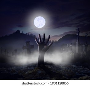 3D-Illustration _ Graveyard in the night with hand of a undead