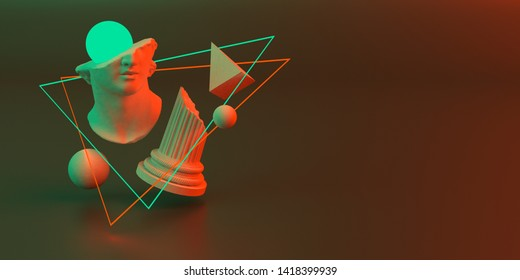 3d-illustration of an abstract composition of sculpture and primitive objects