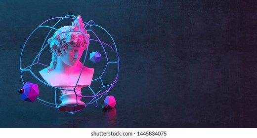 3d-illustration of an abstract composition of sculpture and primitive objects on dark background
