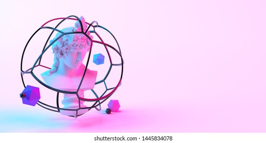 3d-illustration of an abstract composition of sculpture and primitive objects on light background