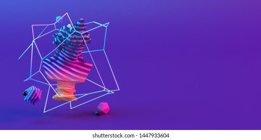 3d-illustration of an abstract composition of sculpture and primitive objects on violet background