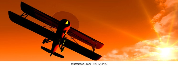 3D-illustration, biplane flying in the sky