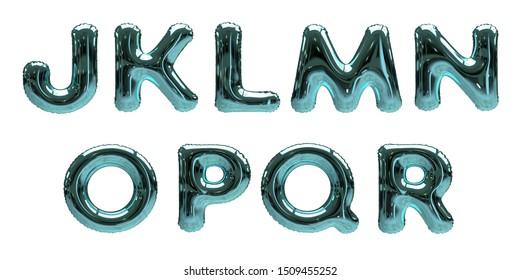 3D-Illustration of blue Foil Helium Balloon Alphabet Letters J, K, L, M, N, O, P, Q, R isolated on a white background