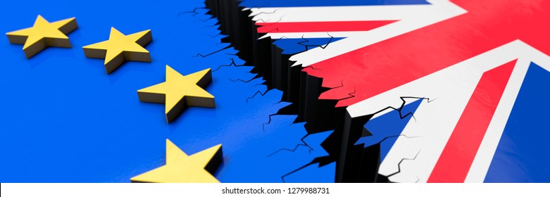 3D-illustration Brexit Europe and UK