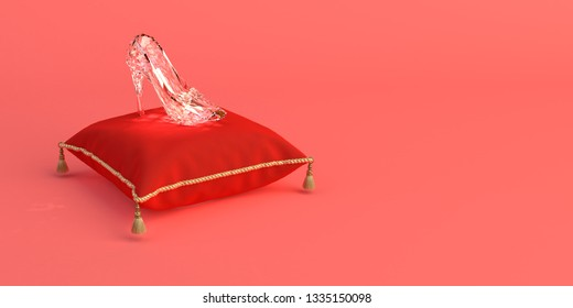 3D-illustration of Cinderella's glass slipper on a pink coral background.
