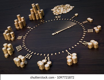 3D-Illustration Clock face with coins - time is money
