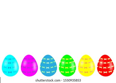 3D-Illustration Colorful Easter egg with pattern banner isolated on white
